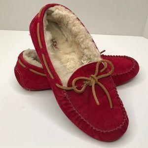 UGG Red Dakota Slipper Moccasin Shoe Size 10
